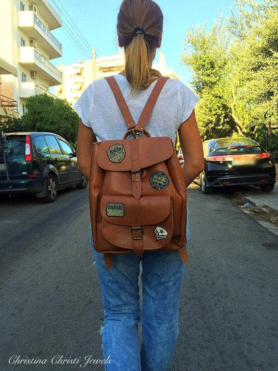 Leather Backpack, Leather Rucksack, Brown Leather Backpack, Fashion Backpack, Made in Greece from Full Grain Leather, LARGE.