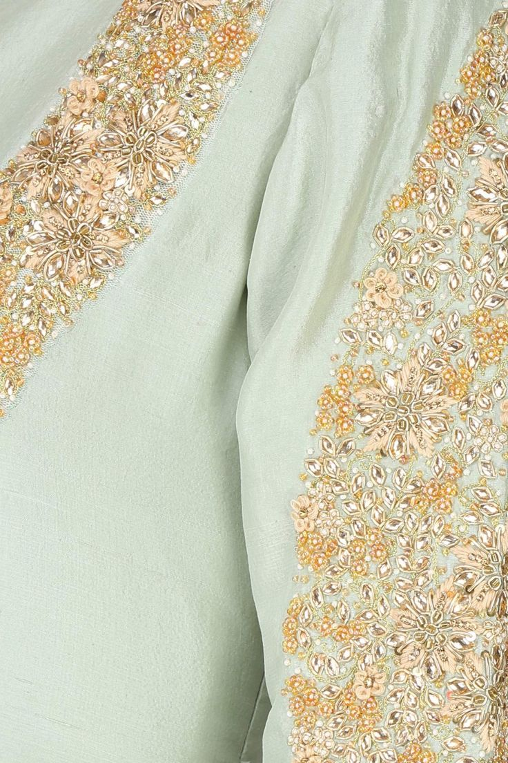Mint embroidered front open layered kalidaar set with embellished dupatta available only at Pernia's Pop Up Shop.