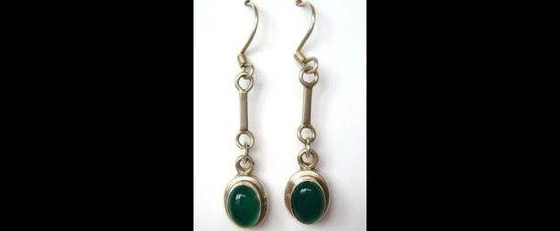 Onyx - 925 zilver groene Onyx oorbel - Een uniek product van Midas-Jewelry op DaWanda