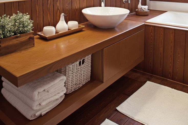 Łazienka w drewnie: stylowe i przyjemne wnętrze