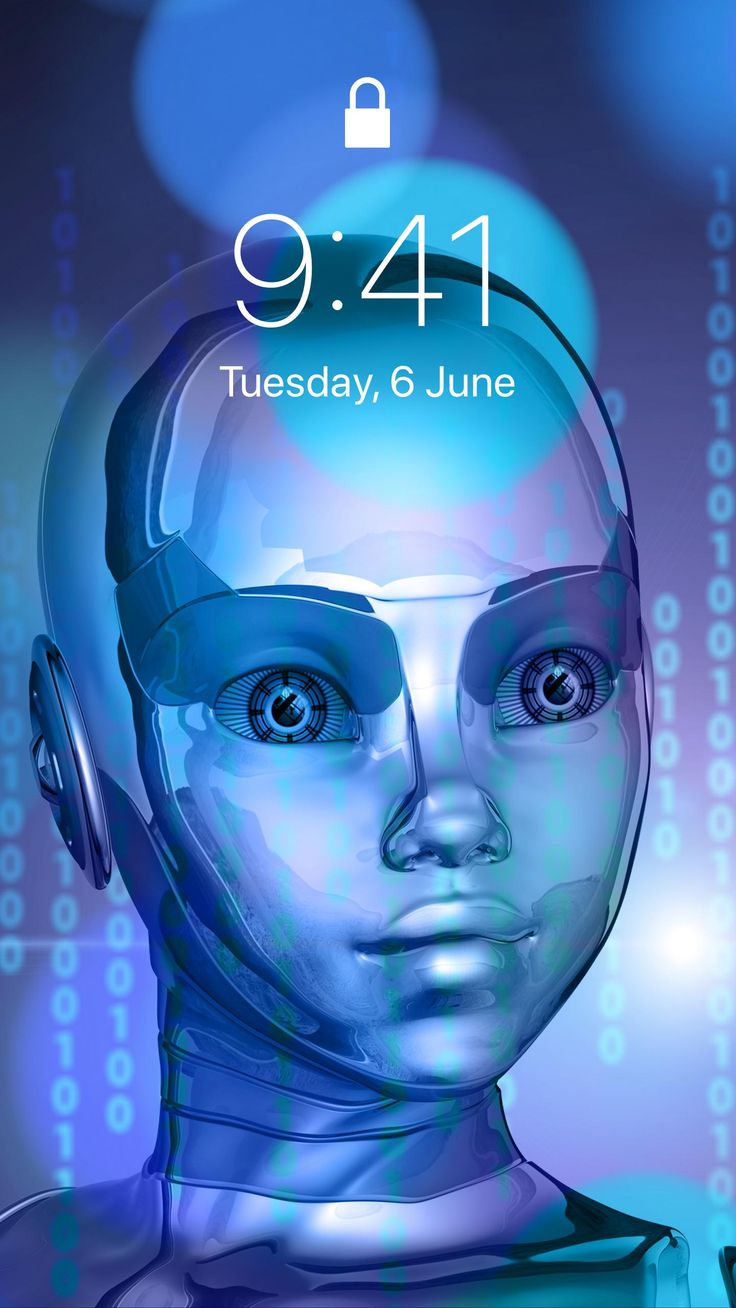 robot cyborg binary code background HD iPhone iPad