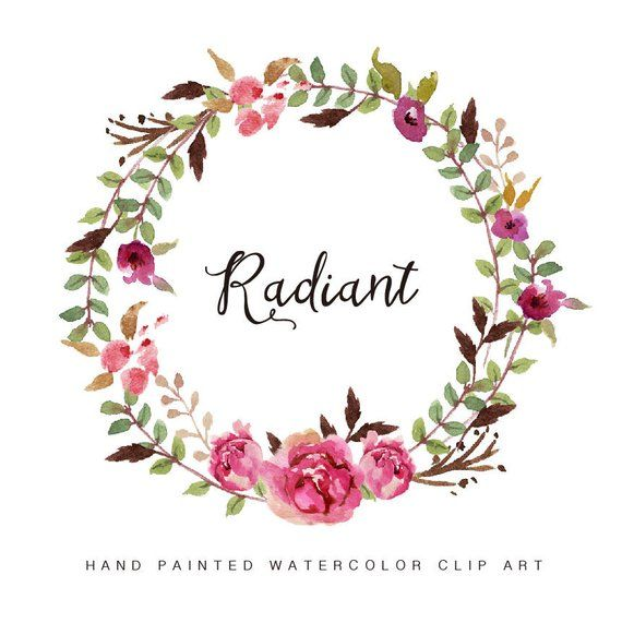 Watercolor Flower Wreath Clipart Radiant Hand Painted Wedding