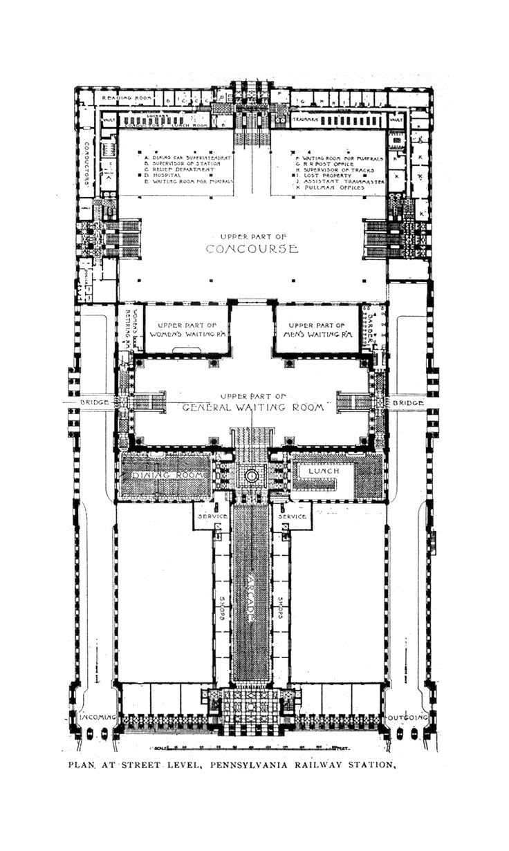 Plan of Pennsylvania Station, New York City (1902 - 11) - McKim, Mead, & White