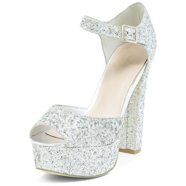 Silver Glitter Ankle Strap Platform Block Heels ($25) ❤ liked on Polyvore featuring shoes, pumps, silver, block heel pumps, glitter shoes, silver shoes, glitter pumps and platform shoes