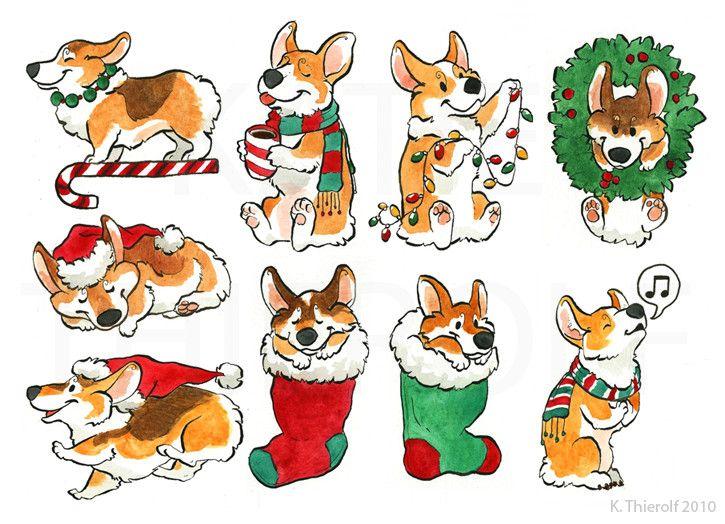 Christmas Corgis by ~Rowkey on deviantART