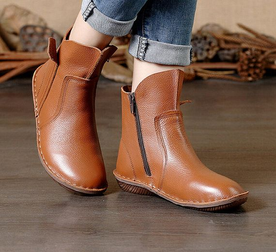 Large Size Handmade Brown Boots,Ankle Boots,Oxford Women Shoes, Flat Shoes, Retro Leather Shoes, Casual Shoes, Short Boots,Booties