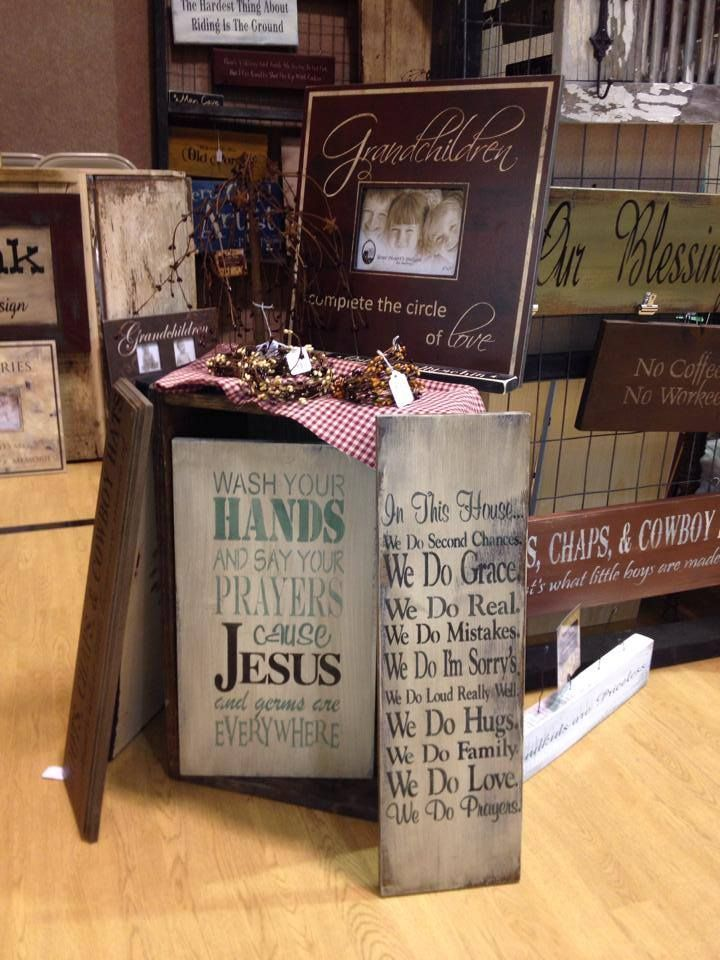 Craft show display display ideas rustic sign primitive for How to display wood signs at craft show