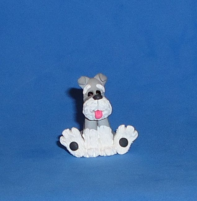 Polymer Clay Schnauzer Dog by JHMiniatures on Etsy https://www.etsy.com/listing/178433448/polymer-clay-schnauzer-dog
