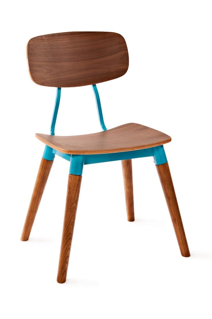 Public Chair // Vintage Design Schoolhouse Chair  Love The Pop Of Color!