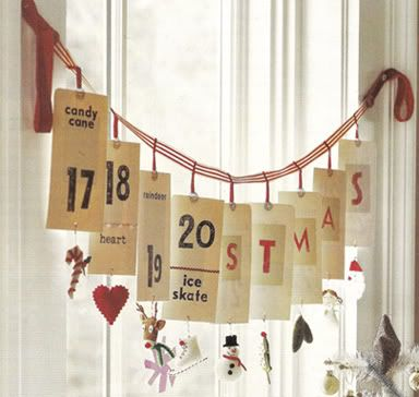 Christmas Advent calendar with tags. sweet and simple