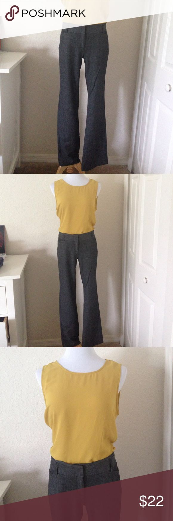 """Express Columnist Pants Dark gray textured dress pants in great condition. Inseam is 31 1/2"""".  See photo for materials.  Looks great with gold blouse also for sale! **cover photo from express website Express Pants"""