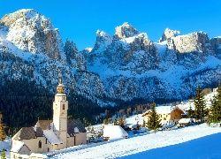 Góry, Kościół, Domy, Ośrodek, Narciarski, Zima, Północne, Włochy