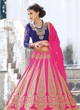 Baby Pink designer bridal lengha choli in georgette