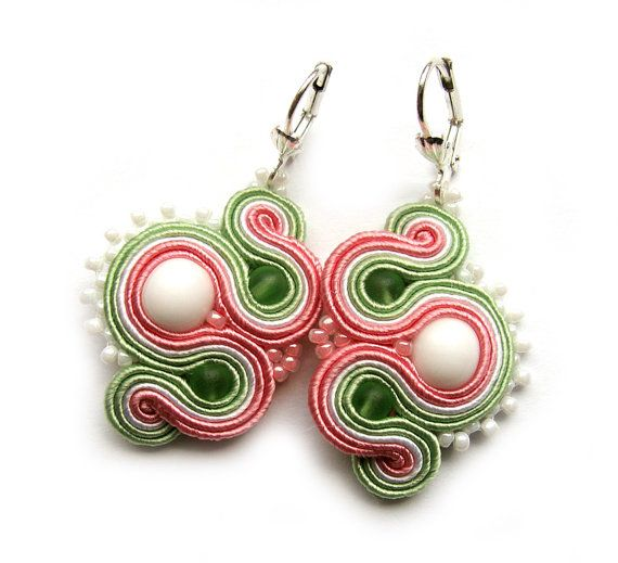 Delicate soutache earrings pastel handmade embroidery green white pink satin strips TOHO oaak gift for her under 50