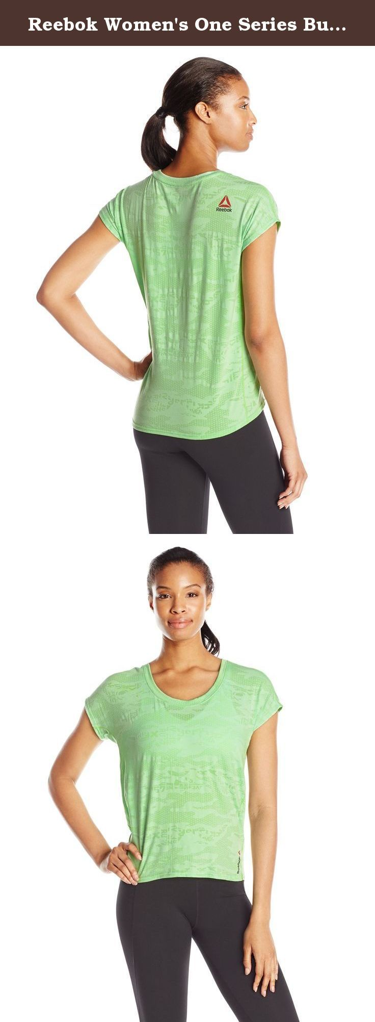 Reebok Women's One Series Burnout Tee, Seafoam Green R, X-Small. Get your workout on in this comfy burnout tee. Speedwick fabrication keeps you cool and dry drapey silhouette and shaped hem Reebok logo graphic.