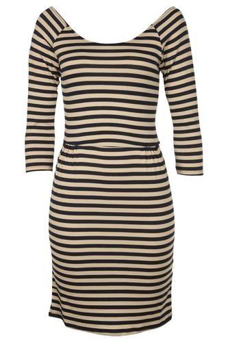 PEACH/NAVY STRIPE PRINT 3/4 SLEEVE LADIES DRESS