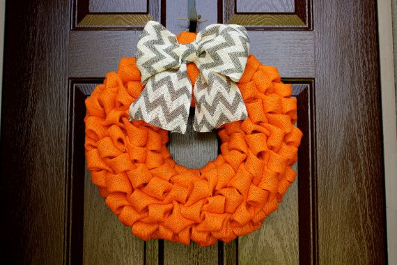 Perfect Fall Wreath  Orange Burlap with Chevron by TheLilacDoor