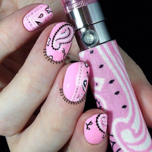 Pastel Pink Paisley Nails