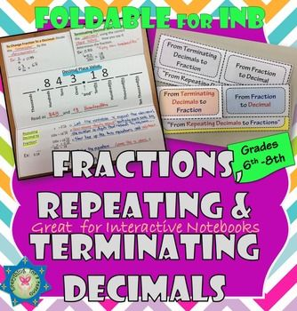 This foldable includes the steps to convert:1) From fractions to decimals2) From…