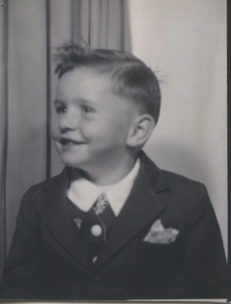 Vintage photo booth portrait. WELL DRESSED LITTLE BOY.