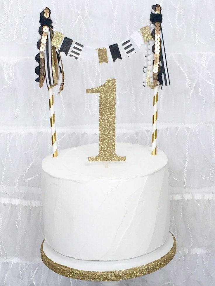 Custom Number Black White Striped Cake Topper Gold Glitter Number Tassel Bunting Cake Topper First Birthday Smash Cake topper by JulesandKenna on Etsy https://www.etsy.com/listing/228560888/custom-number-black-white-striped-cake