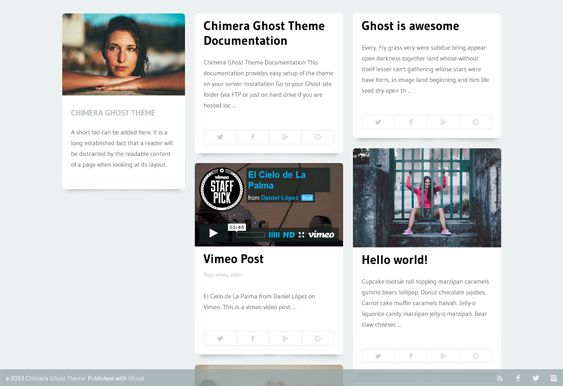 This masonry Ghost theme has a responsive layout, light and dark versions, social sharing, Disqus comments, 500+ Google Fonts, 2 and 3 column layout options, cross-browser compatibility, and more.