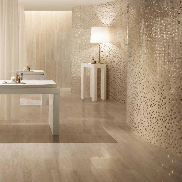 Natural Looking Porcelain Tiles Combined With Shimmering