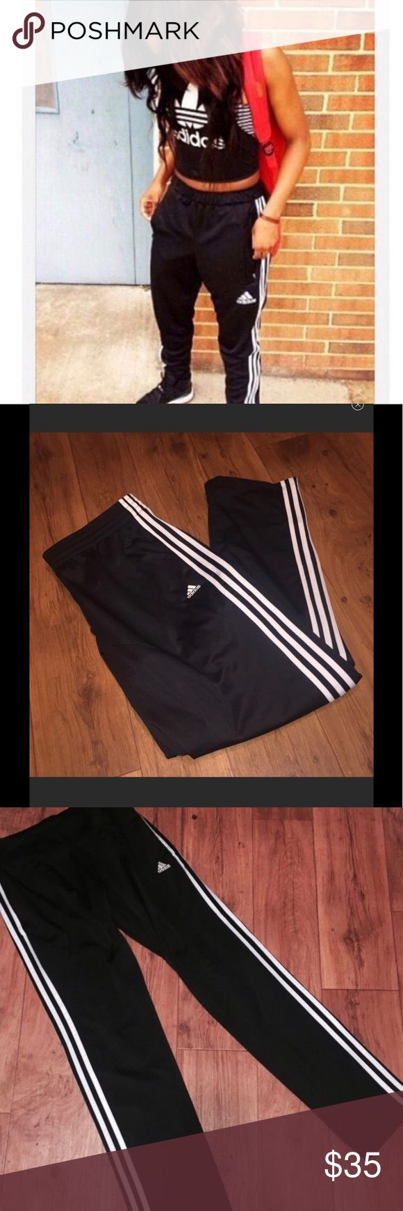 Adidas Superstar Athletic Track Pants Adidas Superstar Athletic Track Pants  - Black with white racing stripes down sides. Vintage 90's style.  Logo on front - Size Womans small  - cotton blend material - sweatpants, super comfortable  - loose, slouchy fit, strait legs, full length Perfect new condition - NWOT - purchased from PACSUN TAGS: #pacsun #athletic #90s #gym adidas Pants Track Pants & Joggers
