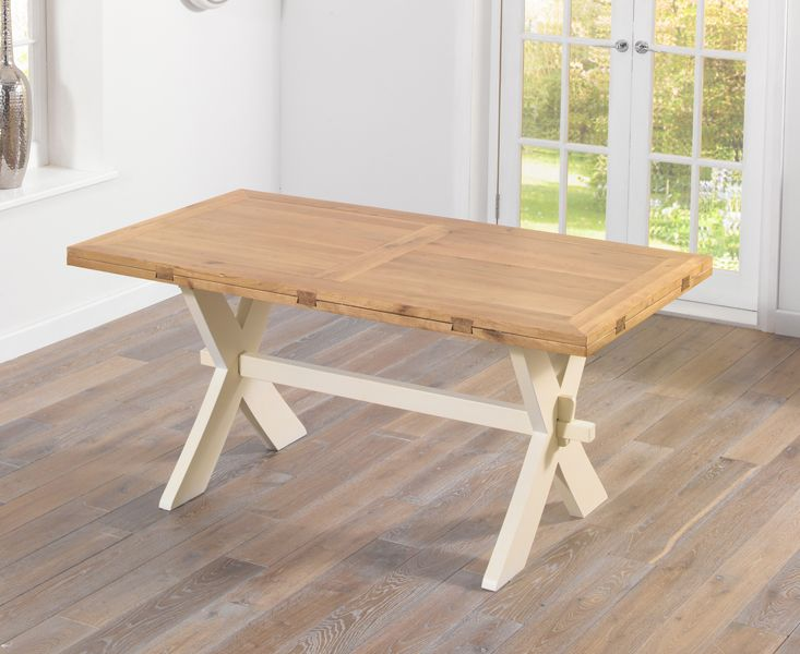 Buy the Bordeaux 165cm Oak and Cream All Sides Extending Table with Cavendish Chairs at Oak Furniture Superstore