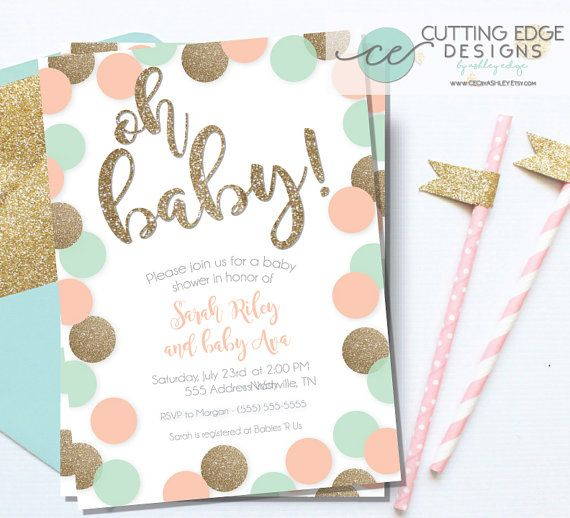 Baby Shower Invitation, Peach, Mint, and Gold Glitter, Printable - Chic - PDF and JEPG - Baby Girl Invite - shower - kids - baby