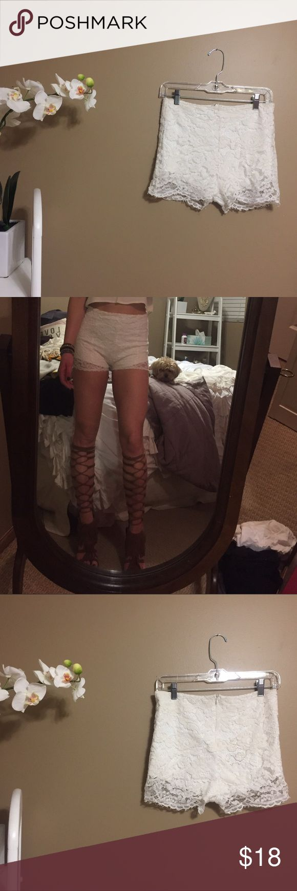 Lace short shorts Off white/cream lace shorts | small stain on back cheek | high waist Lush Shorts