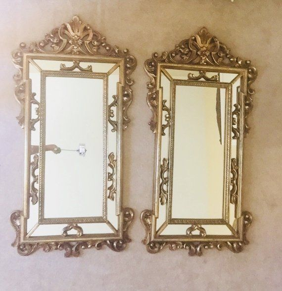 Vintage Gold Framed Mirrors Set Of 2 Large Rectangular Mirrors Gold Framed Mirror Mirror Frames Rectangular Mirror