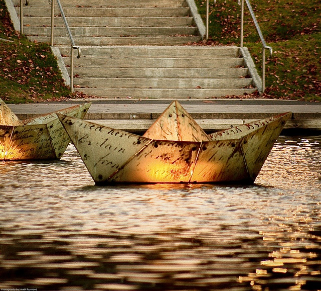 Paper Boats on the Torrens Lake, River Torrens, South Australia.