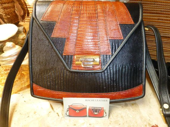 SOLD Roche leather 'aztec'  purse unparalleled by mychineseauntiegifts
