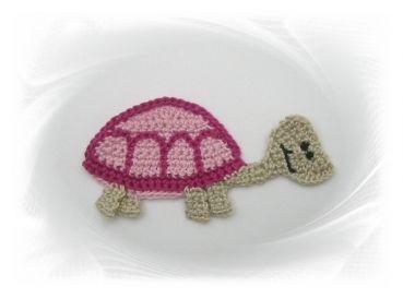 gehäkelte Schildkröte rosa-pink, Häkelapplikation, Aufnäher, Applikation Schildkröte