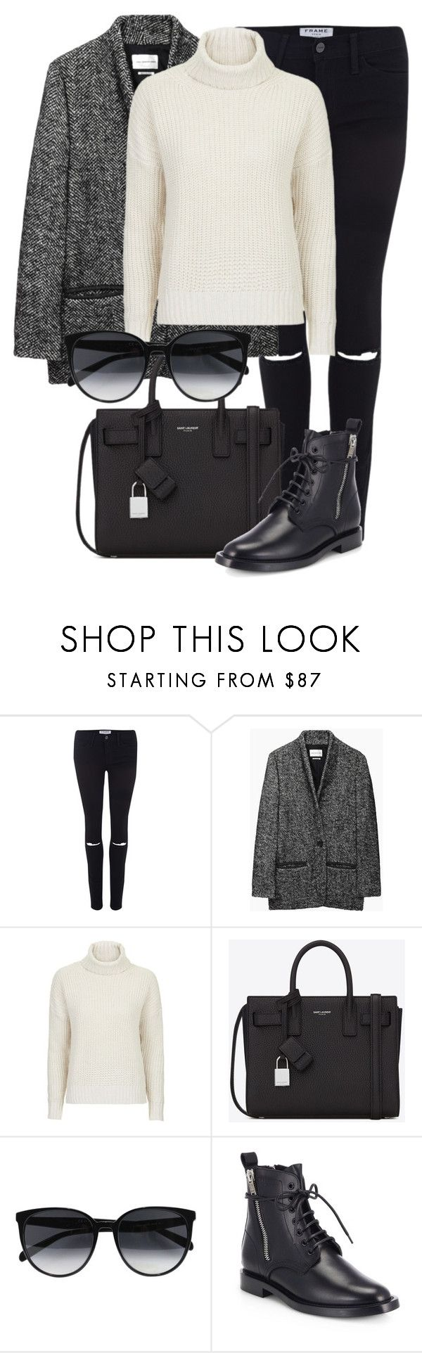 """""""Untitled #1901"""" by annielizjung ❤ liked on Polyvore featuring Frame, Étoile Isabel Marant, Topshop, Yves Saint Laurent and CÉLINE"""
