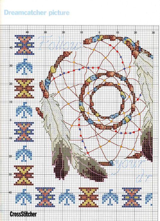 Borduurpatroon Kruissteek Dromenvanger *Embroidery Cross Stitch Pattern Dreamcatcher ~Follow your Dreams 2/3~