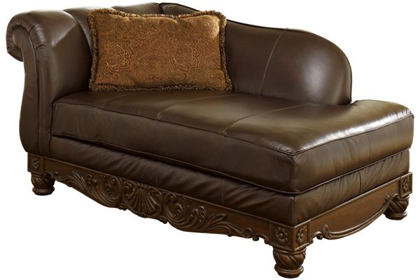 Ashley furniture north shore dark brown leather corner for Ashley chaise lounge