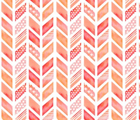Watercolor Herringbone in Pinks fabric by emilysanford on Spoonflower - custom fabric