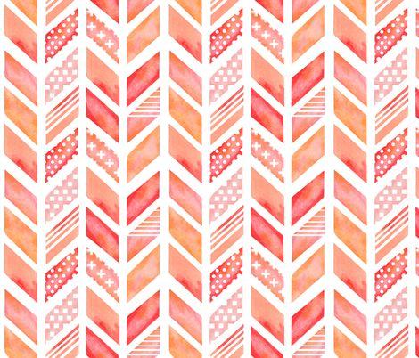 Watercolor Herringbone in Pinks fabric by emilysanford on Spoonflower - custom…