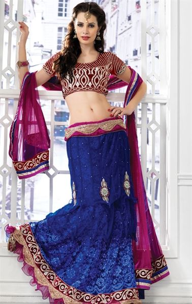Beautiful Bue and Magenta Designer Wedding Lehenga Choli Set HSPDIW9405C - www.indianwardrobe.com
