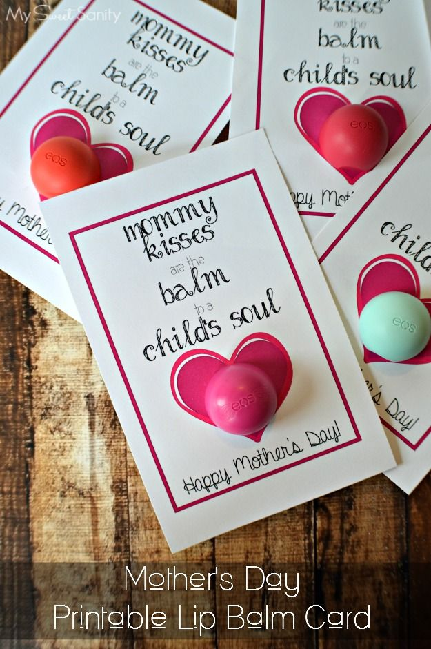 Mother's Day Printable Lip Balm Card | Crafts, Mothers and Kid