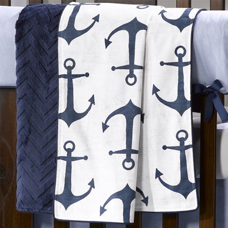 This anchor pattern crib bedding set can help set the tone for your nautical nursery. FREE SHIPPING now available.