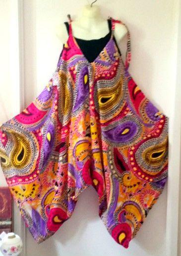 Plus One size 16 18 20 22 Hippy Bohemian Rayon cotton pant Jumpsuit leisurewear