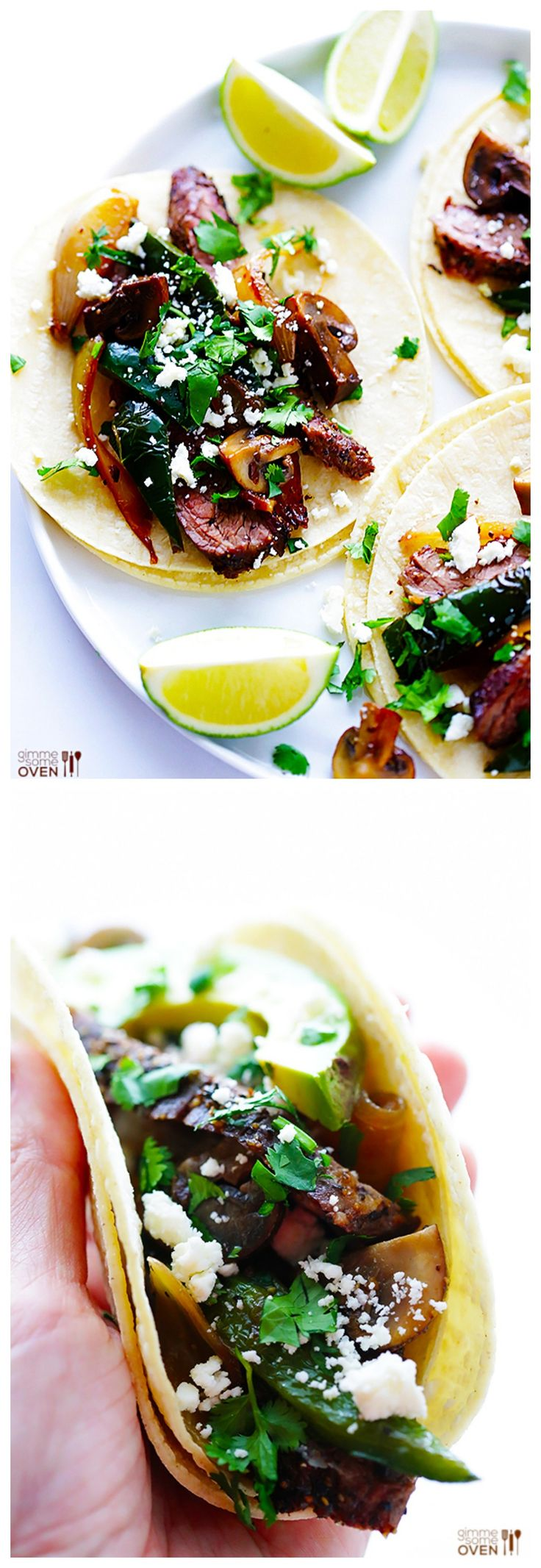 Steak, Poblano & Mushroom Tacos -- full of amazing flavor, and quick and easy to make | gimmesomeoven.com #dinner #mexican #recipe