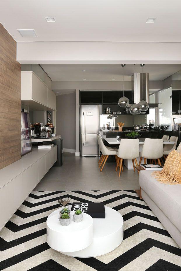 Preto e branco, apartamento de 55 m² tem décor sofisticado