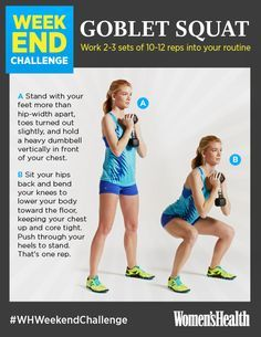 Weekend Challenge: Goblet Squat http://www.womenshealthmag.com/fitness/weekend-challenge-goblet-squat