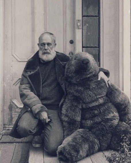Edward Gorey on his front porch Cape Cod Mass
