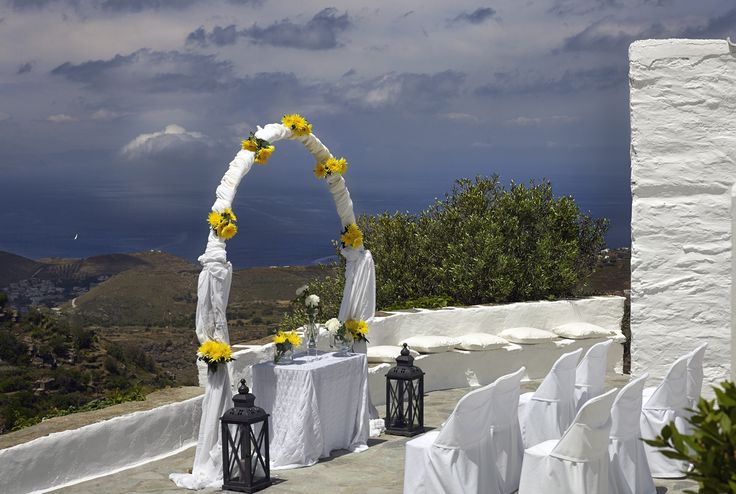 Floral arch at a wedding ceremony, embraced by the surrounding views!