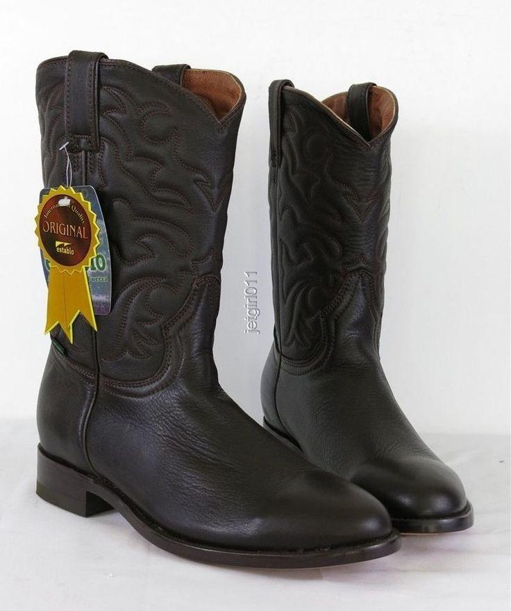 Botas Establo Cowboy Boot Brown Leather USA 8 1/2 EU 41.5 NIB #BotasEstablo #CowboyWestern